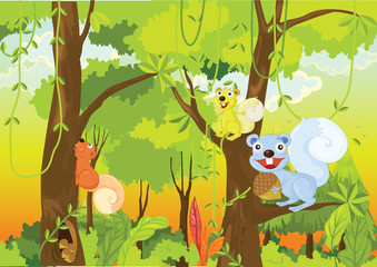 Poster Forest animals animals