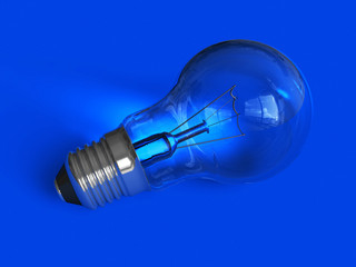 Lightbulb on blue