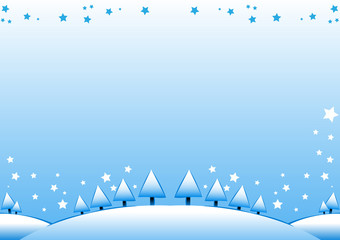 Vector Christmas bacground, layout with Winter landscape, snow,