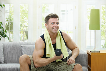 Muscular man doing excercise