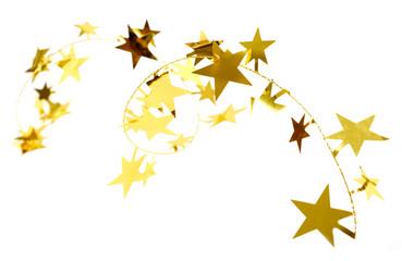 Golden stars isolated on white background.