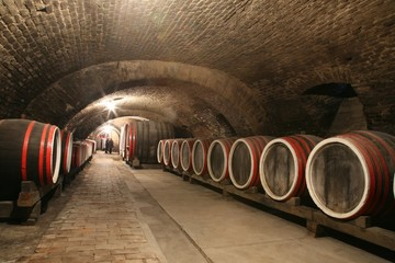 An old wine cellar with barrels