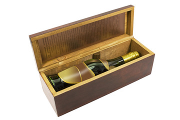 bottle with wooden box isolated on white background