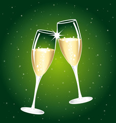 Two cups of champagne. Golden and green illustration.
