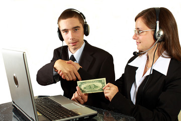 Young boy and attractive woman help desk specialists