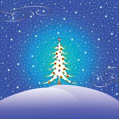 stars snow and christmas tree