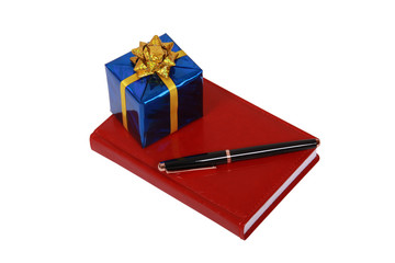 Red notepad and gift