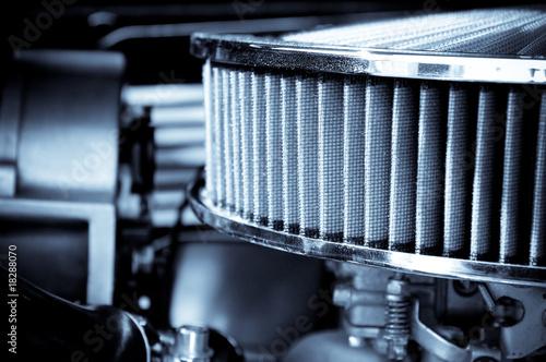 Wall mural performance engine air intake filter and carburetor
