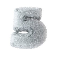Number five sewn from santa fur with clipping path