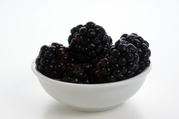 some sweet organic blackberries in a white bowl