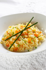Risotto with boiled pumpkin pieces