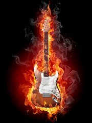 Printed roller blinds Flame Burning guitar
