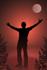 Male vampire with outstretched arms on sky and moon background