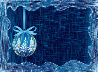 Vector Christmas bulb is on icy background. Frame. (CMYK)