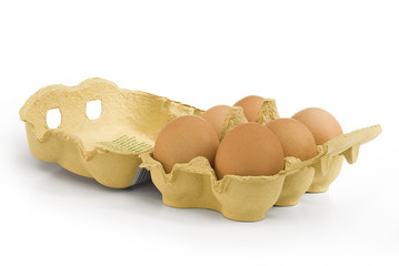 Brown eggs in cardbox