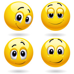 Self-satisfied smiley balls posing