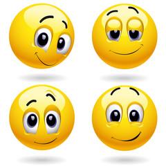 Self-satisfied smiley balls posing
