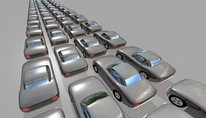 Cars in long queues