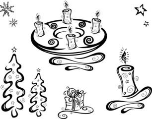 christmas design elements, Weihnachten, Nikolaus, Advent