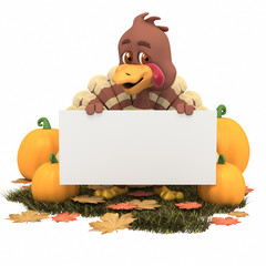 Cartoon Thanksgiving Turkey with Blank Sign