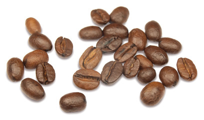 Coffee seeds isolated on white