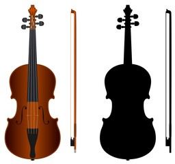 violin with black silhouette