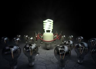 Incandescent light-bulbs admire the fluorescent light bulb