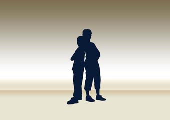 Paar Rücken an Rücken Silhouetten