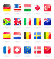 world flags as buttons vector