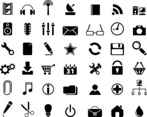 Black web icons. Vector illustration.