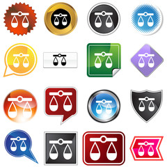 justice scale variety icon set
