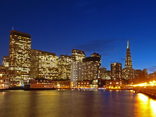 The Skyline of San Francisco at night.