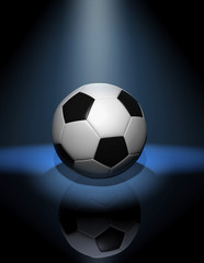 soccer ball in blue spotlight