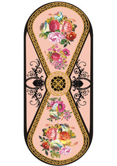 vertical strip with rose flower pattern