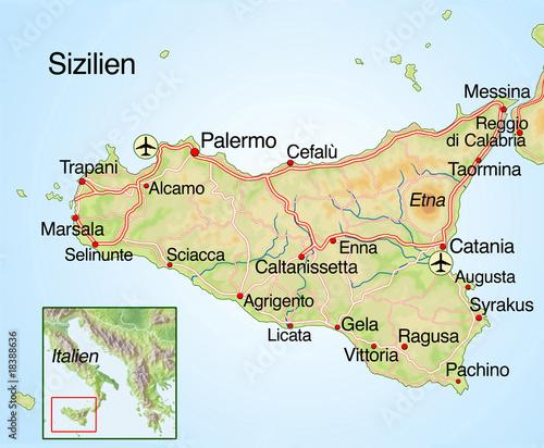 landkarte sizilien Landkarte von Sizilien mit Text