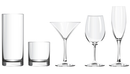 Various glass goblets stand on a white background
