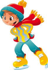 Young ice skater. Funny cartoon and vector character.