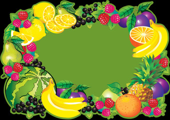 Fruits frame and place for sample text. Healthy food.