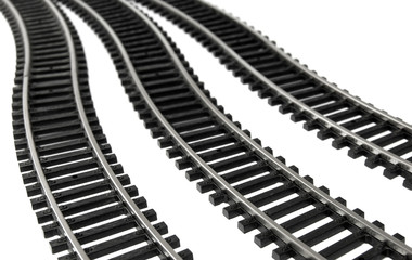Toy Railroad Track on white background