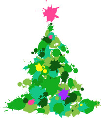Christmas tree made from the color stains