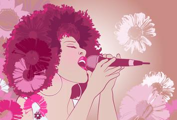 Etiqueta Engomada - Vector illustration of a jazz singer