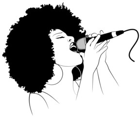 Printed roller blinds Art Studio Vector illustration of a jazz singer