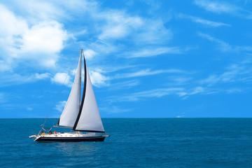 Sailboat sailing in the morning