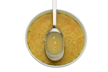 letters A B C spelled in alphabet soup