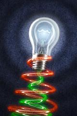 Light Bulb shining on jeans. Creativity concept. Eureka!