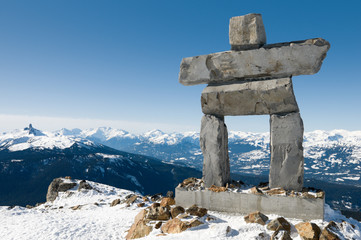 Poster Canada Inukshuk at the top of Whistler Mountain, site of 2010 Winter Ol