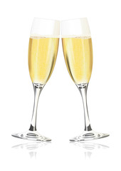 Vector champagne glasses on a white background