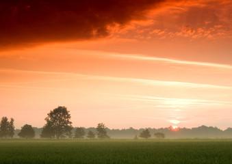 Obraz Piękny i spokojny wschód słońca. - fototapety do salonu