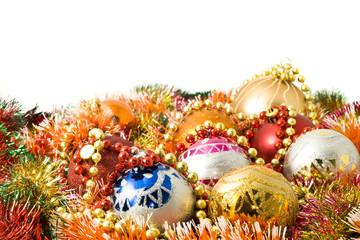 Beautiful Christmas decoration balls and colorful tinsel