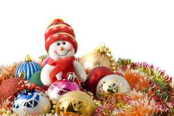 Christmas greeting - Funny white snowman and decoration balls